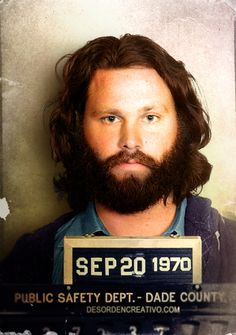 A colour mug shot of Jim Morrison, September 1970.