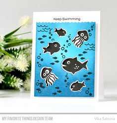 Ocean Fun stamp set and Die-namics - Vika Salmina #mftstamps