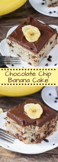 This Chocolate Chip Banana Cake with Chocolate Fro…