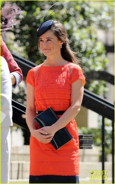 Pippa Middleton at a friend's wedding in London in May. She's wearing a Catherine Deane dress.