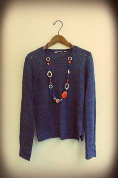 Tagua Pandora necklace orange and Indigo linen knit Pandora Necklace, Indigo, Orange, Knitting, Summer, Sweaters, Fashion, Moda, Summer Time