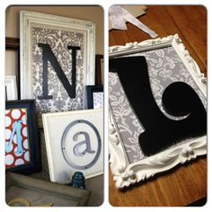 This wasn't difficult. It takes some time waiting for primer and spray paint to dry but other than that it was easy! I got the frame from Goodwill. I used some leftover fabric for the backdrop. I just spray adhesived (<---- is that even a word?) it to the cardboard that came with the back of the frame. Then I hot glued the letter on.