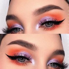 Colorful eye makeup idea How to choose the best eyeshadow palette . - Colorful eye makeup idea How to choose the best eyeshadow palette - Best Eyeshadow Palette, Purple Eyeshadow, Eyeshadow Makeup, Makeup Palette, Orange Eyeshadow Looks, Summer Eyeshadow, Summer Eye Makeup, Bright Eyeshadow, Morphe Palette