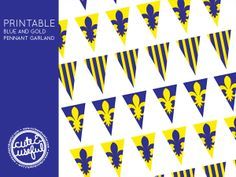 Blue and Gold Centerpieces + Free Mini Pennant Printable