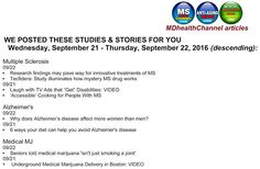 My book and MD Health Channel's MS/Alzheimer's/Medical Marijuana posts: Today…