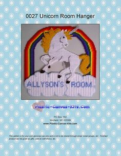 Unicorn Door Hanger-Plastic Canvas Pattern-PDF Download