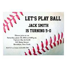 Baseball Custom Man Birthday Invitation