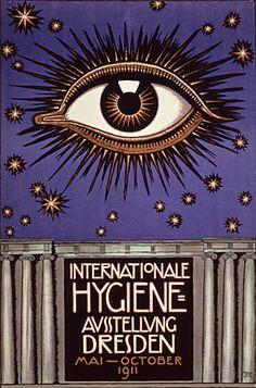 Franz Stuck (German [Symbolism, Art Nouveau] Poster for the International Hygiene Exhibition 1911 in Dresden. Art Deco, Dresden, Karl Hofer, Wall Art Prints, Canvas Prints, Eyes Artwork, Art Nouveau Poster, Franz Marc, Psy Art
