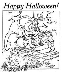 Halloween Coloring Pages | HALLOWEEN COLORING PAGE PRINCESS BELLE DISNEY