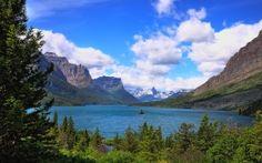 Parque Nacional Glacier, lago, Montañas, bosque, árboles, paisaje