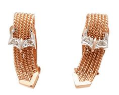 Rose Gold braided buckle #earrings with #rosecutdiamond detail. They are so #unique and available at Turnerandtatler.com