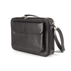 Skórzana torba na laptopa G-541A, na laptop+mini biuro, czarna