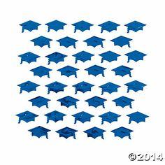 Blue Graduation Cap Confetti