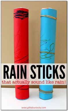 DIY rain stick craft that actually sounds like rain is part of Cool Kids Crafts For Boys - A kidfriendly rain stick craft that actually works! Your kids will love the realistic rain sounds made by these simpletomake rain sticks Daycare Crafts, Fun Crafts For Kids, Diy For Kids, Creative Crafts, Children Crafts, Diy Gifts For Kids, Music Crafts Kids, Crafts For Camp, Recycled Crafts For Kids