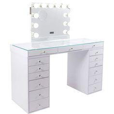 Tabletop Vanity Mirror, Mirror Drawers, Glass Vanity Table, Makeup Vanity With Drawers, Cute Room Decor, Teen Room Decor, Bulb Mirror, Pink Vanity, Vanity Set