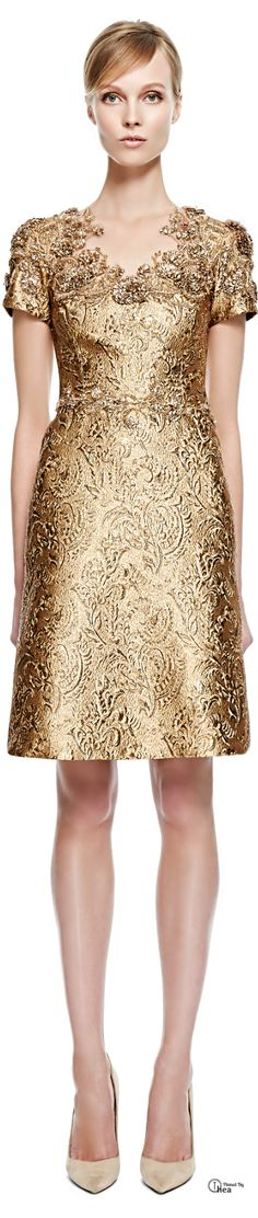 Marchesa ● Fall 2014, Metallic Brocade Cocktail Dress #baroque