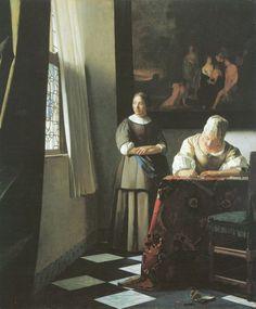 Vermeer van Delft, Jan: Schreibende Frau mit Dienstbotin