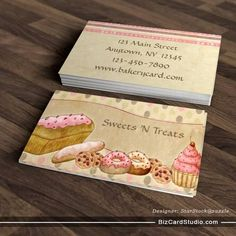 Taupe Pink Cakes Bakery Business Card