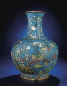 A LARGE CLOISONNE ENAMEL 'BIRDS AND FLOWERS' VASE, TIANQIUPING  QIANLONG CAST SIX-CHARACTER SEAL MARK WITHIN DOUBLE-RECTANGLES AND OF THE PERIOD (1736-1795)http://www.christies.com