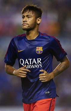 Neymar JR of Barcelona looks on prior to the La Liga match between Levante UD and FC Barcelona at Ciutat de Valencia on September 21, 2014 in Valencia, Spain.