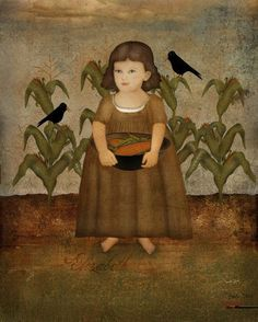 Elizabeth in the cornfield. Im going for an early American portrait, painterly look. This digital collage print The sample image posted is a low Primitive Painting, Primitive Folk Art, Primitive Fall, Early American, American Art, Art Populaire, Naive Art, Outsider Art, Oeuvre D'art