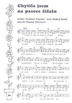 Výsledek obrázku pro písničky z pohádek Ukulele, Sheet Music, Piano, Pianos, Music Sheets