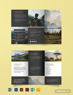 Free Travel Agency Brochure Template - A brochure with a contemporary design that is sure to awaken the wanderlust of your clients. Travel Brochure Design, Graphic Design Brochure, Corporate Brochure Design, Travel Design, Graphic Design Posters, Brochure Indesign, Template Brochure, Brochure Layout, Adobe Indesign