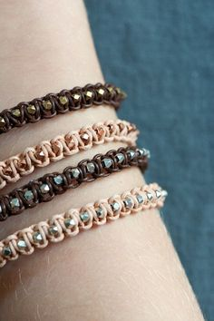 Leather bracelet geometrical beads by lebenslustiger on Etsy, $23.00