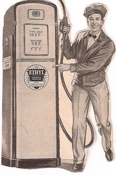 A gas station attendant standing next to a gas pump | History is ...