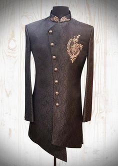 Delicately Crafted Traditional Sherwani that reflects the ease of fine craftsmanship! ~ 👑🏇💫 Inbox us or 📞 for pricing and Free Designer's Appointment. Sherwani For Men Wedding, Sherwani Groom, Mens Sherwani, Wedding Dress Men, Wedding Suits, Tuxedos, Indian Men Fashion, Mens Fashion Wear, Mens Traditional Wear