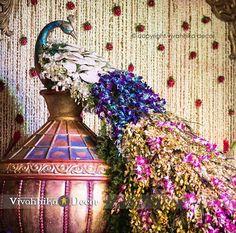 Mumbai Wedding Decorations, Wedding Decorations in Mumbai - Bigindianwedding Wedding Stage Decorations, Backdrop Decorations, Flower Decorations, Backdrops, Peacock Decor, Peacock Theme, Peacock Wedding, Wedding Arrangements, Floral Arrangements