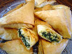 Spanakopita Triangles Recipe, Spanakopita Recipe, Philo Dough, Spinach And Feta, Greek Spinach Pie, Frozen Spinach, Cooking Recipes, Healthy Recipes, Easy Recipes
