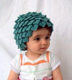 Crocodile Stitch Oil Green Baby Hat  for Baby by myknittingworld, $22.00