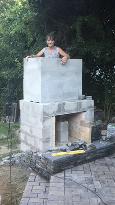 DIY Outdoor Fireplace – Stacy Risenmay – Roseann H. Build Outdoor Fireplace, Outside Fireplace, Outdoor Fireplace Designs, Backyard Fireplace, Diy Fireplace, Backyard Patio, Rustic Outdoor Fireplaces, Outdoor Rooms, Outdoor Living
