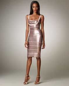 Sequined Bandage Dress by Herve Leger at Bergdorf Goodman.