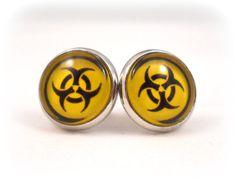 Biohazard Symbol Earrings for Teens Tweens  Zombie Apocolypse !!