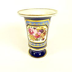 Urn Flower Holder, European Handpainted Porcelain.