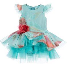 Mischka Aoki Baby Girls Turquoise Floral Silk Chiffon Dress at Childrensalon.com