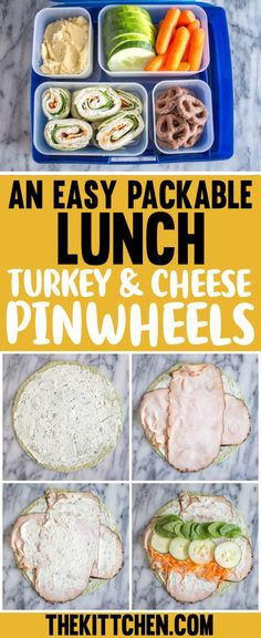 An Easy Packable Lunch: Turkey and Cheese Pinwheels <br> Do you pack lunches? For yourself, your husband, your kids? When I worked in an office I tried to pack my lunch every day. The challenge was to come up with an easy packable lunch Packed Lunch Ideas For Adults, Easy Packed Lunch, Healthy Packed Lunches, Healthy Lunches For Work, Cold Lunches, Prepped Lunches, Lunch Snacks, Lunch Recipes, Easy Lunches For Kids