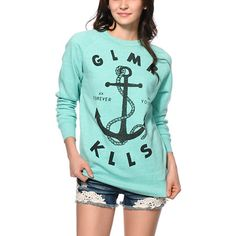 Set sail with the style of the GLMR KLLS anchor graphic printed on a pullover style sweatshirt with a soft fleece lining and long raglan sleeves for absolute comfort.