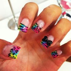 Colorful animal print nails