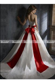 Sexy A-line Floor-length Spaghetti Straps Sleeveless Red and White Taffeta Wedding Dresses
