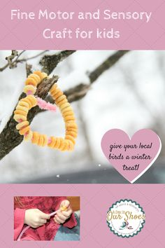 Fun and inexpensive craft for Winter or Valentine's Day. Work on sensory, fine motor, talk about what birds do for food in the winter. Simple craft with lots of possibilities.