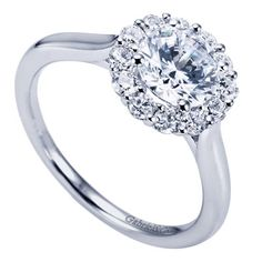 14K White Gold Round Cut Diamond Contemporary Halo Engagement Ring for only $1,440.00