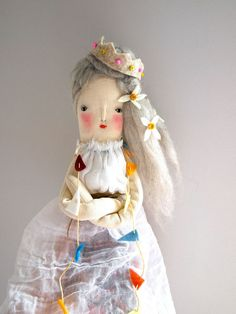 Hand crafted linen doll folk art display doll by JessQuinnSmallArt