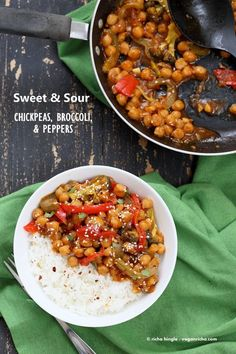 Sweet and Sour Chickpeas, Peppers, and Broccoli. Easy Weeknight One Pot Protein filled Meal.   VeganRicha.com