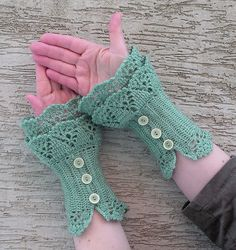 Celadon crocheted layered armwarmers cuffs by hypericumfragile, via Flickr