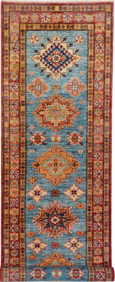 """Handmade Afghan Turquoise Oriental Kazak Runner 2' 7"""" x 9' 7"""" (ft) - No. 11974  http://alrug.com/turquoise-oriental-kazak-runner-2-7-x-9-7-ft-no-11974.html"""