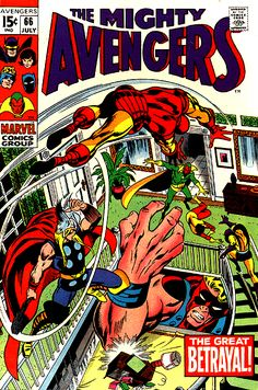 Avengers #66, Thor, Iron Man, Giant Man, YellowJacket, Wasp and Vision wreck shop in the mansion. Art, John Buscema