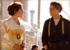Titanic Costumes - Day dress and lower class men's costumes on on Winslette and Dicaprio  from the film Titanic. leonardo dicaprio, film, movie, fashion, costume design, james cameron